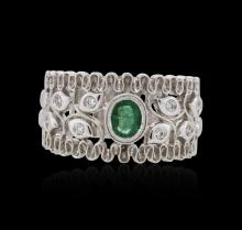 14KT White Gold 0.32 ctw Emerald and Diamond Ring