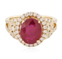 14KT Yellow Gold 3.68 ctw Ruby and Diamond Ring