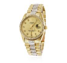 Gents Rolex 14KT Yellow Gold 4.00 ctw Diamond Date Wristwatch