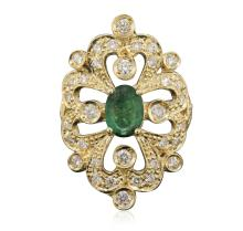 14KT Yellow Gold 0.83 ctw Emerald and Diamond Ring