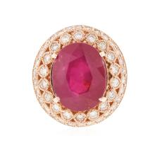 14KT Rose Gold 12.37 ctw Ruby and Diamond Ring
