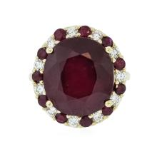 14KT Yellow Gold 19.69 ctw Ruby and Diamond Ring