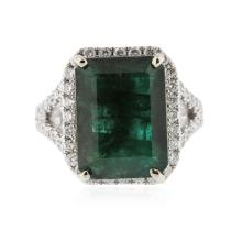 14KT White Gold 8.01ct Emerald & Diamond Ring