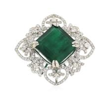 14KT White Gold 13.22ct Emerald and Diamond Ring