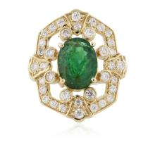 14KT Yellow Gold 3.03ct Emerald and Diamond Ring