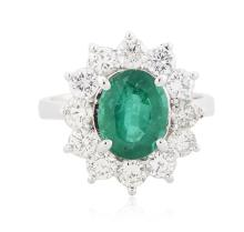 14KT White Gold 2.10ct Emerald and Diamond Ring