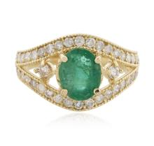14KT Yellow Gold 1.58ct Emerald and Diamond Ring