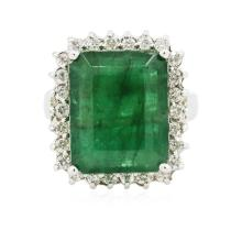 14KT White Gold 9.16ct Emerald and Diamond Ring