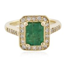 14KT Yellow Gold 2.07ct Emerald and Diamond Ring