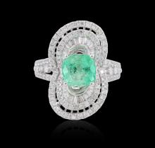 18KT White Gold 1.59ct Emerald and Diamond Ring