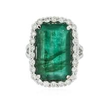 14KT White Gold 10.31ct Emerald and Diamond Ring