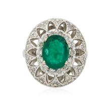 14KT White Gold 2.21ct Emerald and Diamond Ring