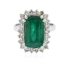 14KT White Gold 5.08ct Emerald and Diamond Ring