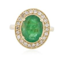 14KT Yellow Gold 3.09ct Emerald and Diamond Ring