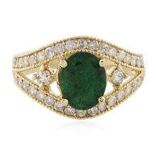 14KT Yellow Gold 1.63ct Emerald and Diamond Ring