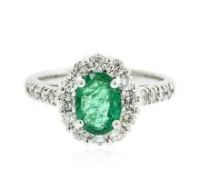 14KT White Gold 1.00ct Emerald and Diamond Ring