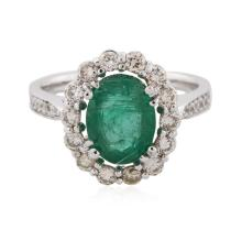 14KT White Gold 1.76ct Emerald and Diamond Ring