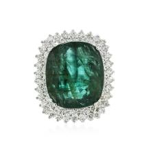 14KT White Gold 26.37ct Emerald and Diamond Ring
