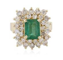 14KT Yellow Gold 2.02ct Emerald and Diamond Ring