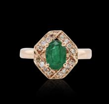 14KT Rose Gold 1.06ct Emerald and Diamond Ring