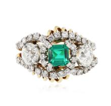 18KT White and Yellow Gold 0.99ct Emerald and Diamond Ring