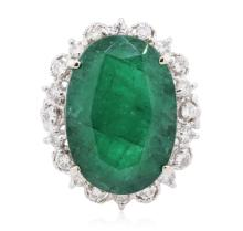 14KT White Gold 13.35ct Emerald and Diamond Ring