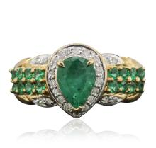 10KT Yellow Gold 1.64ctw Emerald and Diamond Ring