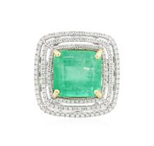 14KT Two-Tone Gold 9.56ct Emerald and Diamond Ring