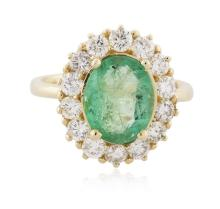 14KT Yellow Gold 2.69ct Emerald and Diamond Ring