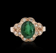 14KT Rose Gold 3.08ct Emerald and Diamond Ring