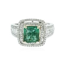 14KT White Gold 2.39ct Emerald and Diamond Ring