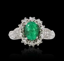 18KT White Gold 1.35ct Emerald and Diamond Ring