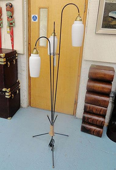 FLOOR LAMP, French 1950's/60's with three shaded