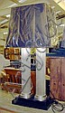 LAMPS, a pair, double Classical metal columns,