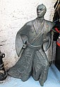BRONZE SAMURAI, in a traditional Japanese costume