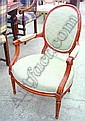 FAUTEUILS, a pair, French style, upholstered in a green Andrew Martin fabric, with carved showframe. (2)