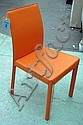 DINING CHAIRS, a set of eight, from Heals, orange