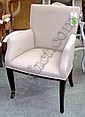 EASY CHAIRS, a pair, with beige upholstery,