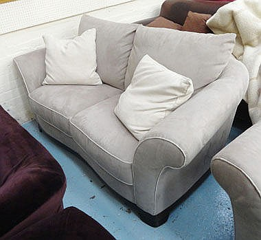 SOFA, two seater, by Natuzzi, grey with lighter
