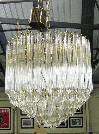 CHANDELIER, four branch, Italian Venini style,