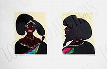 CHRIS OFILI (British, b. 1968), 'Afro Harlem Muses, 2005', lithograph in colours, 61.5cm x 77.5cm, n