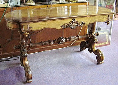 LIBRARY TABLE, early Victorian rosewood, with a