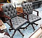 OFFICE CHAIRS, a pair, with grey buttoned backs on