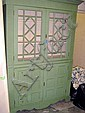 CHALON GREEN DISPLAY CABINET, distress painted,