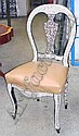 CHAIRS, a pair, tanned leather seats on a mother of pearl frame. (2)