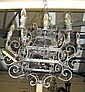 CHANDELIERS, a pair, Italian, grey metal, of