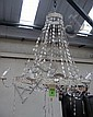 CHANDELIER, eight branch, with metal frame, cream