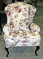 WINGBACK ARMCHAIR, with floral design on cream