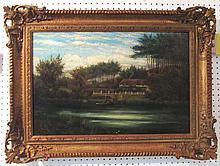 FOLLOWER OF J.LEWIS, 'The Ferry', oil on canvas, 53cm x 35cm, framed.