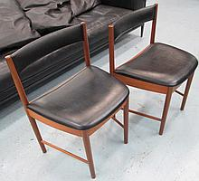 DINING CHAIRS, a set of six, 1960's, in black bears 'MC' lable. (6)